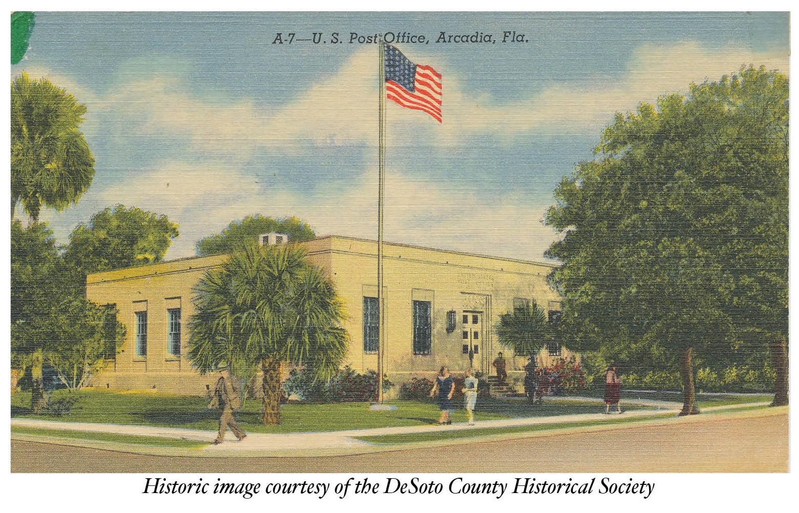 postcard of arcadia post office