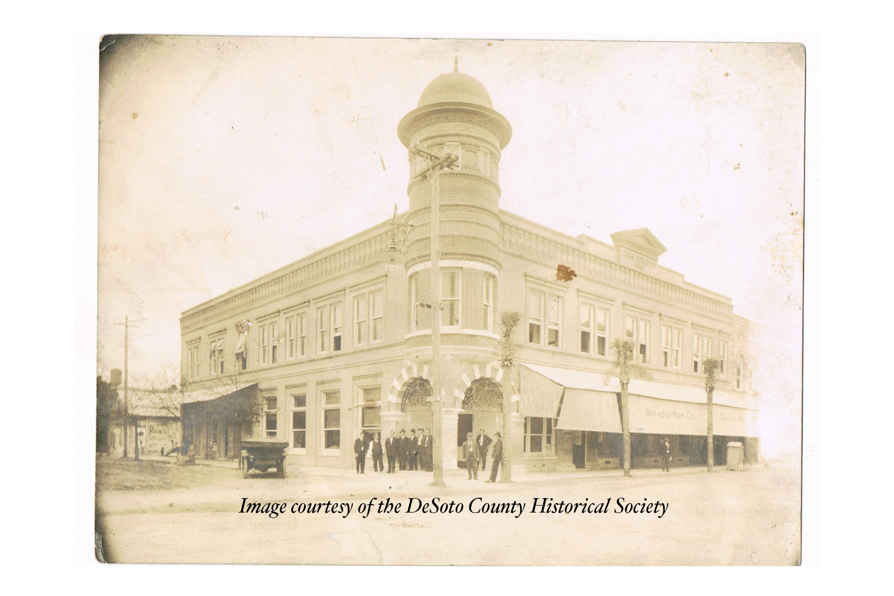 historical photograph of first national bank of arcadia