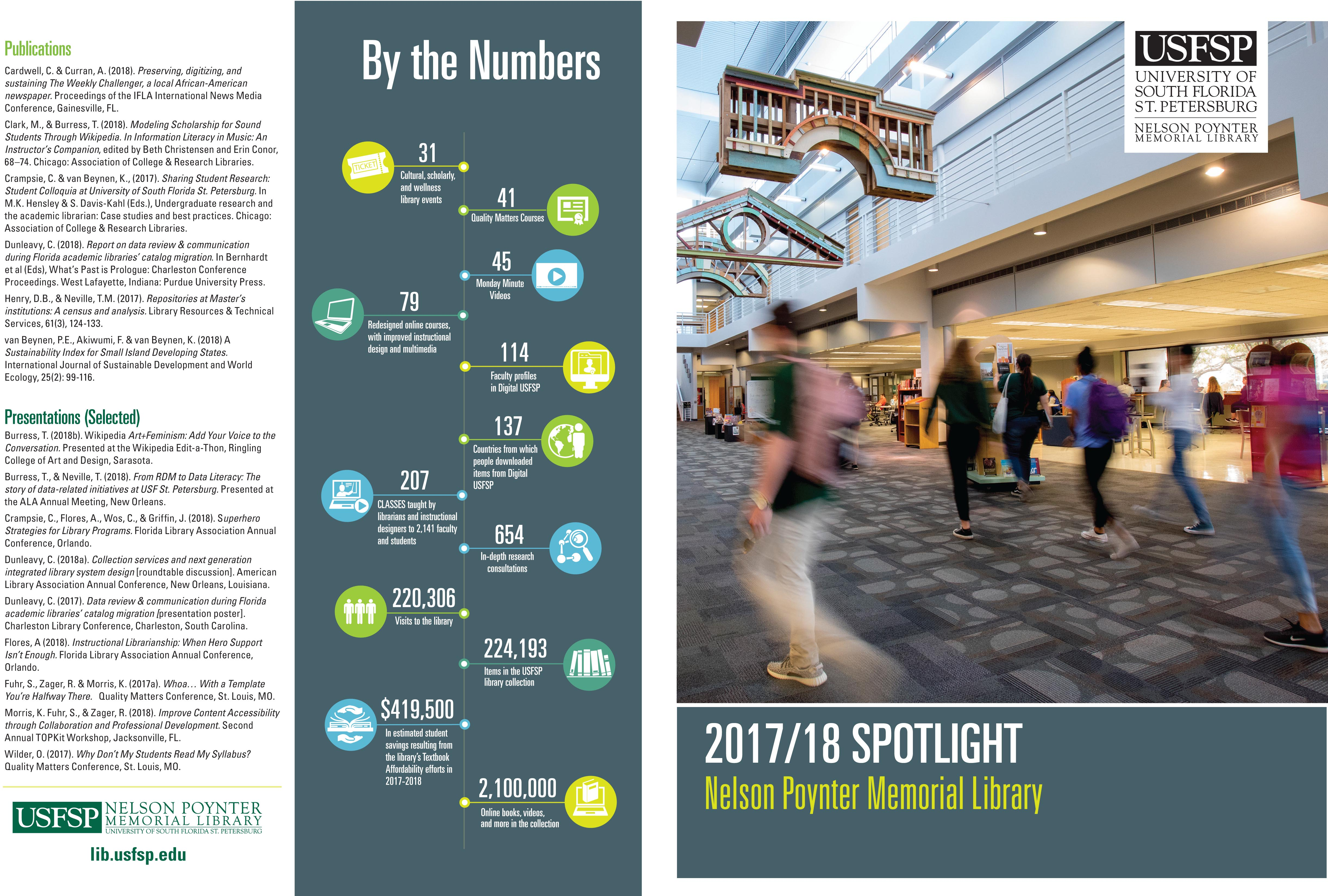 Photo of library atrium and list of 2017/18 publications & presenations