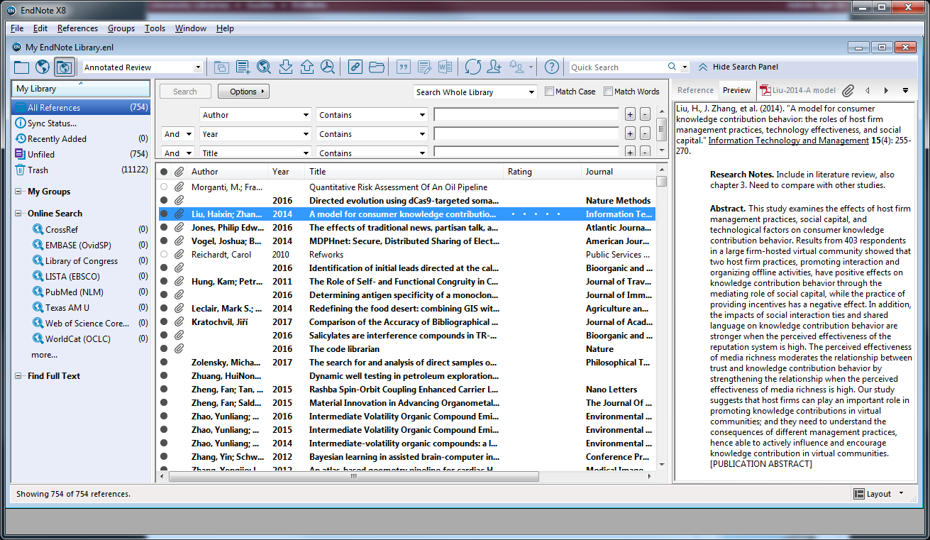 Screen copy of EndNote desktop showing the citation preview when using the Annotated Review style. This shows one's own  Research Notes and the Abstact.