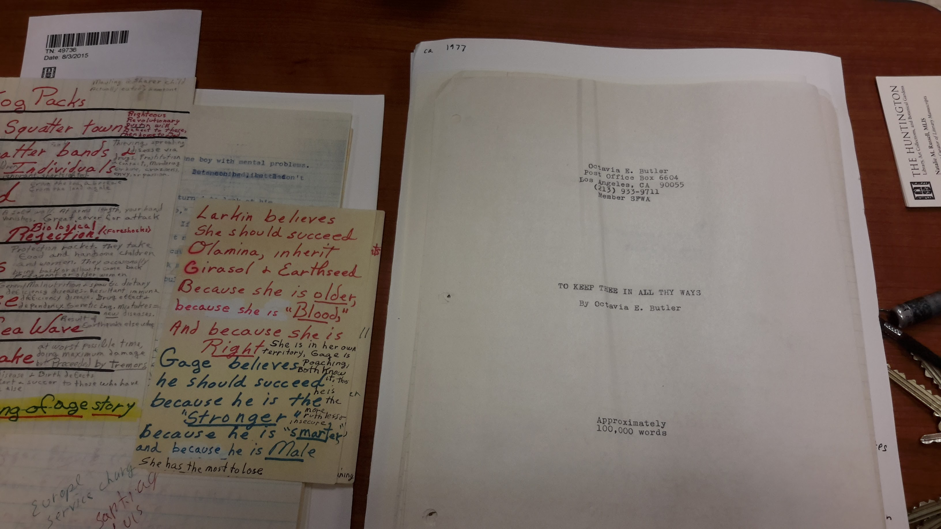 Octavia Butler manuscript for Kindred
