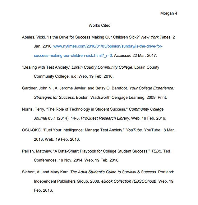 sample of a properly formatted MLA 8th edition Works Cited page