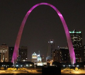 Gateway Arch is lit in pink Photograph