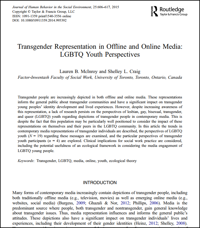 Screenshot of the first page of an article Transgender Representation in Offline and Online Media: LGBTQ Youth Perspectives