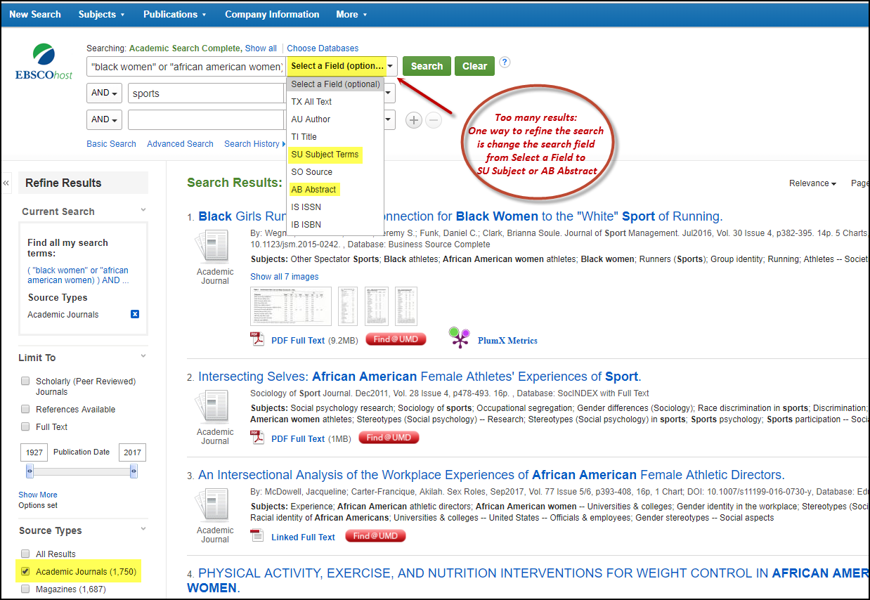 Ebsco Change Search Field