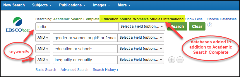 Ebsco search India gender education