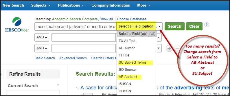 Ebsco Change Select a Filed