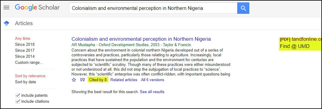 Google Scholar Cited Article Environmental Nigeria