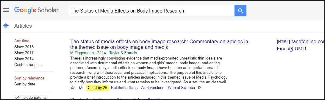 Google Scholar Citing Article Status of Media Effects