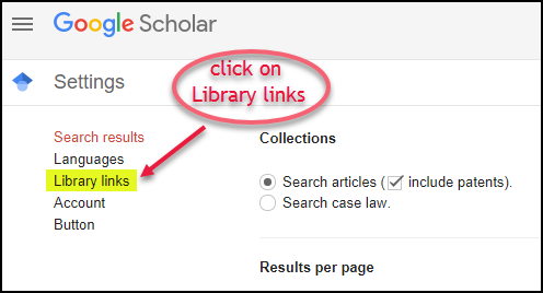 Google Scholar Library Links Step 3 Library Links