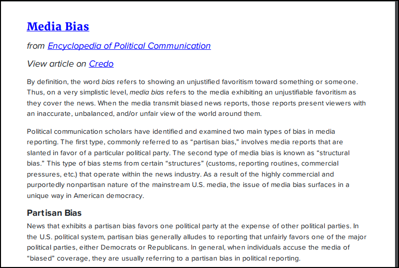 News Bias definition from Encyclopedia of Political Communication