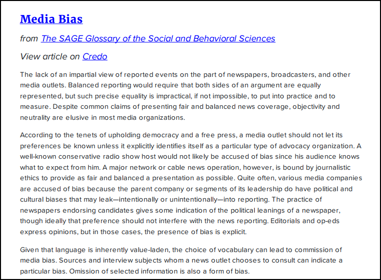 News Bias definition from SAGE glossary of the social and behavioral sciences