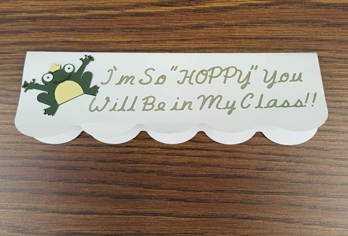 Treat bag topper  with frog captioned -