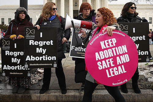 People at abortion rally