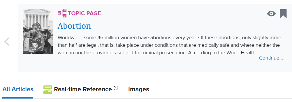 CredoReference Abortion Topic Page