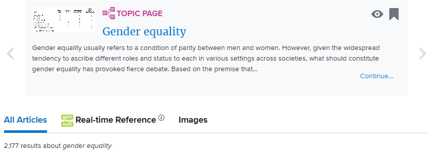 Subject Page from Credo Reference about Gender Equality