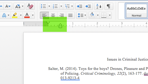 Screen shot of tabs in Word