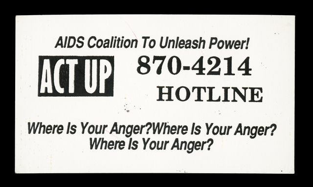 ACT UP business card, 1990.