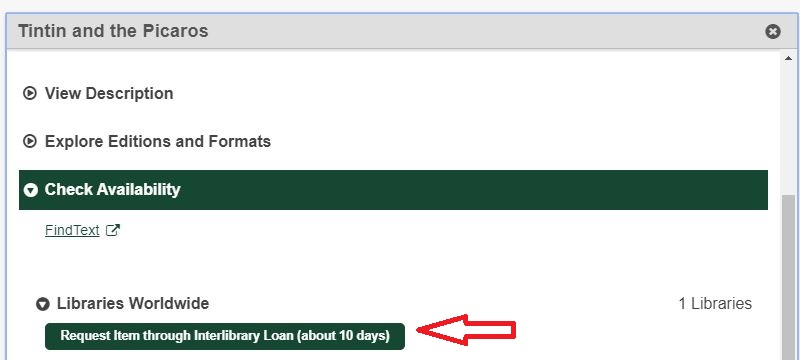 Interlibrary loan request button in WorldCat
