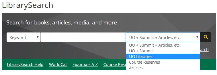 LibrarySearch within UO Libraries