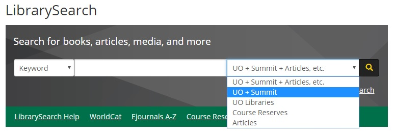 LibrarySearch within UO Libraries and Summit
