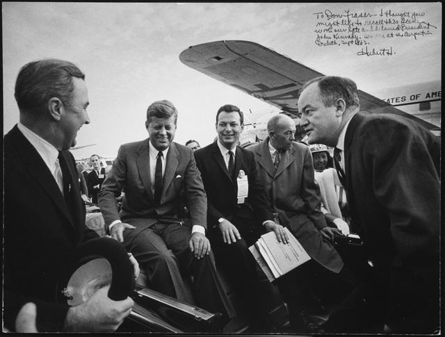 President John F. Kennedy at the Duluth airport, with Senator Eugene McCarthy, Representative Donald Fraser, Governor Karl Rolvaag and Senator Hubert H. Humphrey