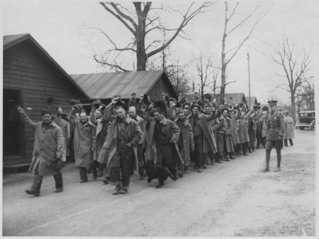 Civilian Conservation Corps members leaving Fort Snelling for the Superior National Forest.