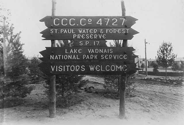 Entrance sign to Lake Vadnais Metropolitan Park Camp, SP-17, CCC Company 4727. Rice Street and County Road G.