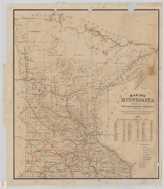 Map of Minnesota : published for the State Geological & Natural History Survey : showing the areas where eggs were deposited by the Rocky Mountain locust in 1873-4-5-6