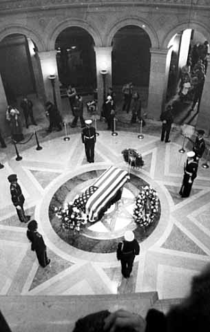 Body of Hubert H. Humphrey lying in state in State Capitol rotunda