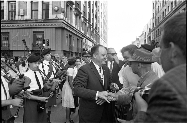 Hubert H. Humphrey campaigning in downtown St. Paul, 1964