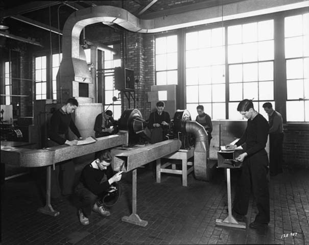 Students working on heating ductwork , Dunwoody Institute, Minneapolis