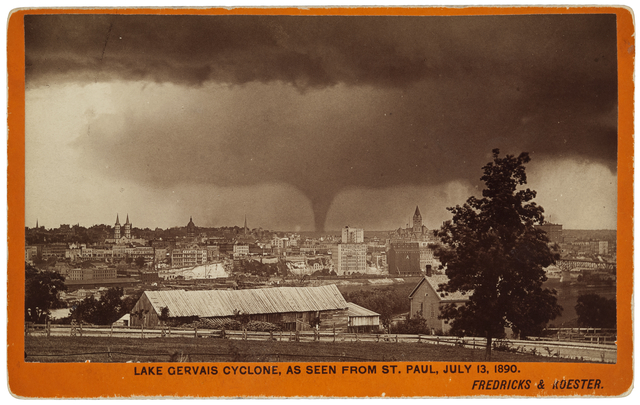 Looking across St. Paul at the Lake Gervais cyclone