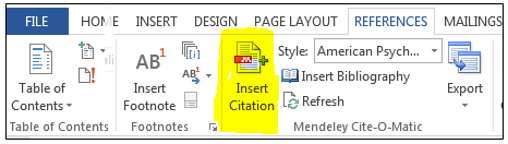 Insert Citation in Word for Windows