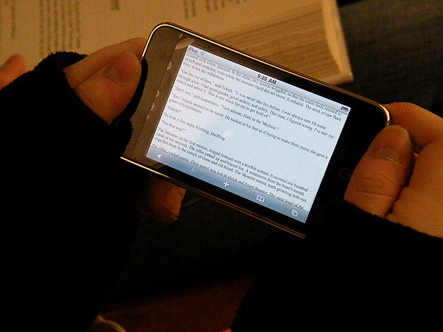 reading ebook on a phone