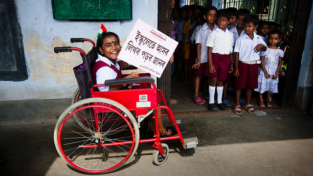 West Bengal school girl in wheel chair