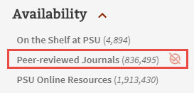image of narrowing results to peer reviewed journals in catalog