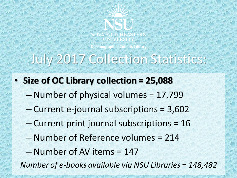 July 2017 OC Library Collection Statistics