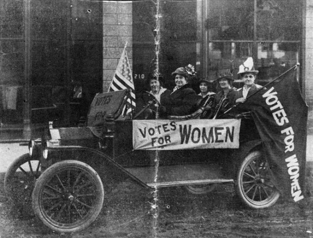 The Suffrage Daily News, the short-lived paper in which this photo ran on November 2, 1914, identified these suffrage campaigners only by their husband's names while noting that the women had campaigned for the vote in four different Montana counties. Left to Right: Mrs. R.F. Foote, Mrs. J.B. Ellis, chairman, Silver Bow County, Mrs. H. Salholm, Mrs. A. Obermyer and Mrs. E.G. Clinch. MHS Photo Archives 951-821