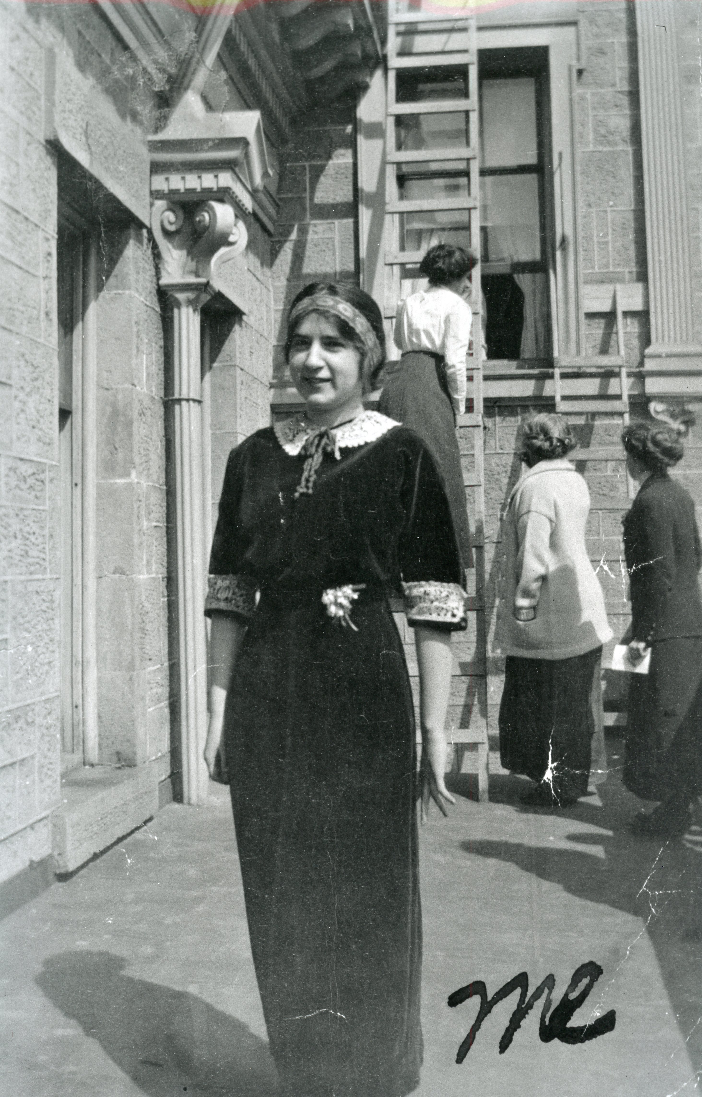 Belle Fligelman poses in front of Belle Chabourne Hall at the University of Wisconsin. MHS Photo Archives PAc 85-31