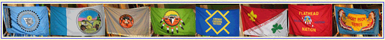 Flags of the different Montana tribal nations, from left to right: Blackfeet nation, Chippewa Cree Tribe of Rocky Boy's Reservation, Crow Tribe, Gros Ventre & Assiniboine of Fort Belknap Reservation, Northern Cheyenne Tribe, Little Shell Chippewa, Confederated Salish and Kootenai Tribes, and Fort Peck Assiniboine and Sioux Tribes
