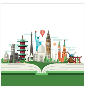 cartoon image of book with international buildings
