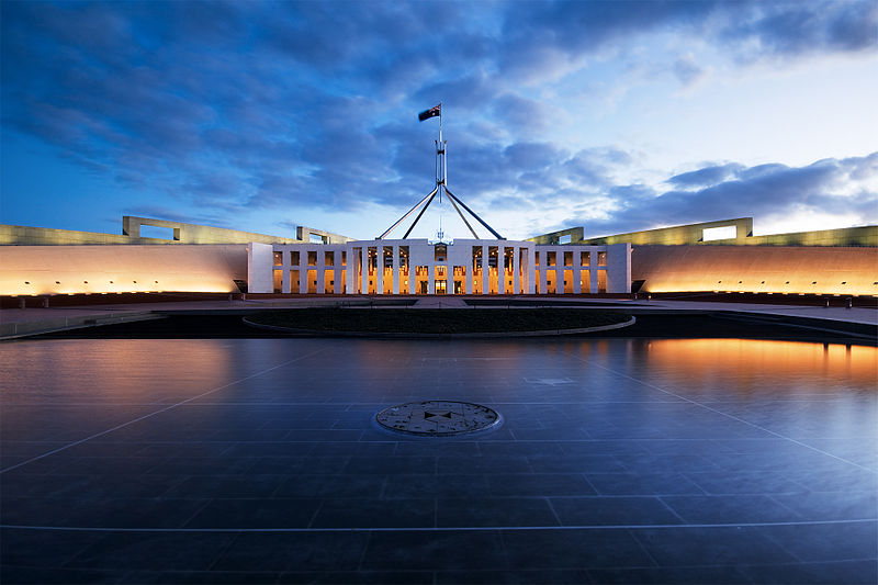 Decorative image of the Australian Parliament House, Canberra.