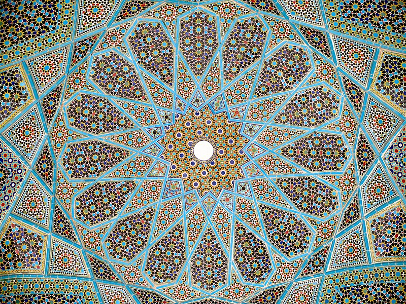 Image of Iranian glazed ceramic tile work, from the ceiling of the Tomb of Hafez in Shiraz, Iran. Province of Fars.