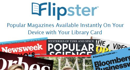 Link to the Flipster magazine subscription. Library card may be needed for authentication.
