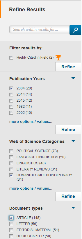 Example of Web of Science search results filters