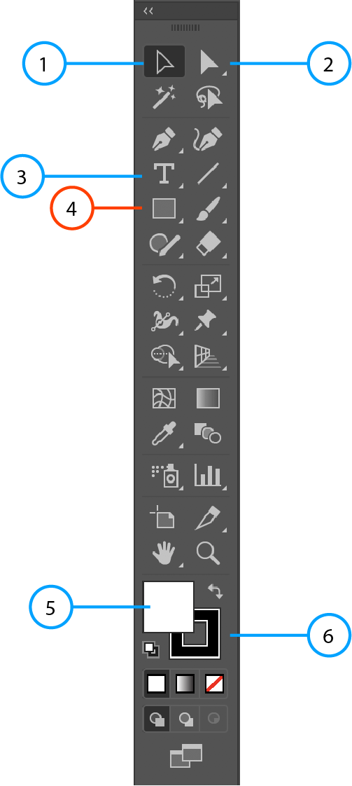 An image of the Adobe Illustrator Toolbar with an orange circle pointing towards the shape tool.