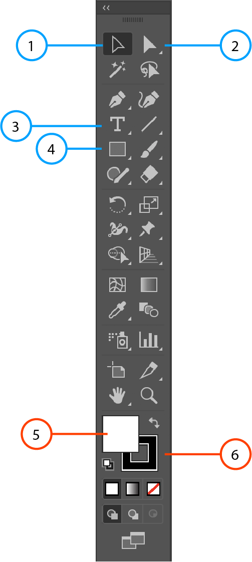 An image of the Adobe Illustrator toolbar, with orange arrows pointing towards the Stroke and Fill tools.