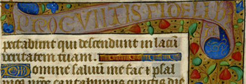 A corner of a colorful medieval manuscript leaf