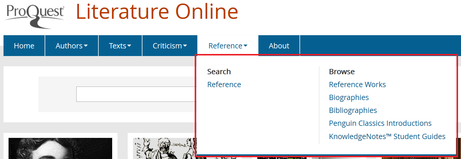 Detail of the Reference submenus Search and Browse